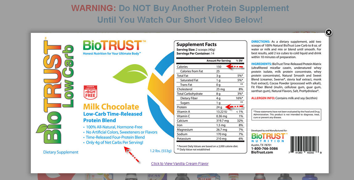Biotrust Low Carb Ingrdients