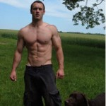 Craig Ballantyne, and his dog Bally, with 6-pack abs sculpted by Turbulence Training